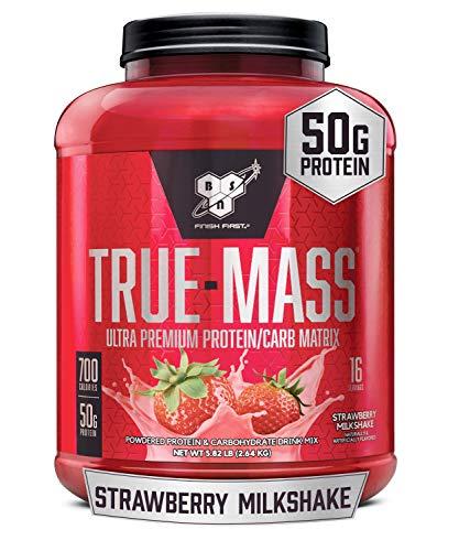 BSN TRUE-MASS Weight Gainer, Muscle Mass Gainer Protein Powder, Strawberry Milkshake, 5.82 Pound