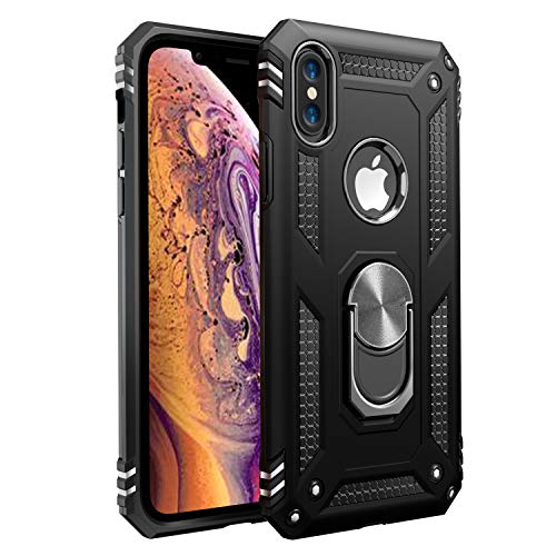 Amuoc Compatible with iPhone X Case,Compatible with iPhone Xs Case, [ Military Grade ] 15ft. Drop Tested Protective Kickstand Case - Black