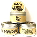 Combo - Set of 3 - Gun Powder, Race Fuel & Burnt Rubber 8 Oz All Natural Soy Candle Tins
