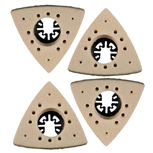4 Stück Polierdreieck Feinpolitur für Multi-Tool 80 mm x 80 mm aus Filz mit Aufnahme Polierscheibe