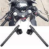 CNC Aluminio Semimanillar Moto 33mm Alzas Manillar Motocicleta 22mm Cafe Racer Kit Universal Negro 7/8' Semi Manillar Moto Custom Para Dirt Bike Yamaha Suziki Kawasaki Ducati Aprilia