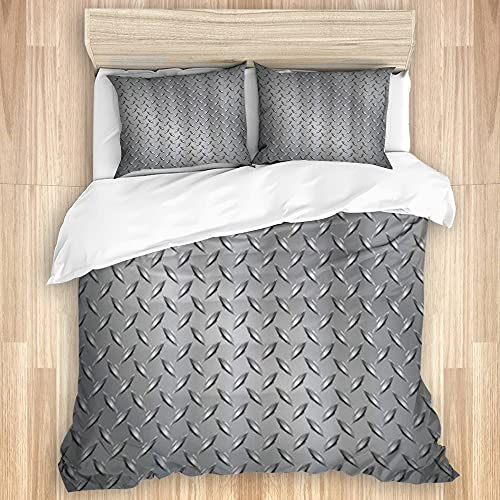MEJX Bedding Sheet-Duvet Cover Set,Fence Netting Display with Diamond Plate Effects Chrome Motif,Microfibre 200x200 with 2 Pillowcases 80x50,Double