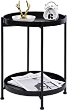 """Modonery 2 Tier 15.7"""" Dia. Metal Round Side Table with Removable Storage Tray for Living Room,Bedroom Nightstand End Table..."""