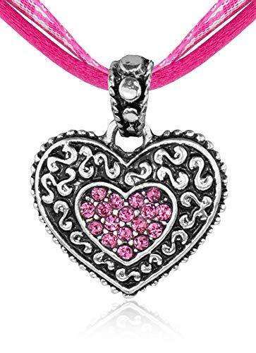 Kinder Trachten Halskette kariert mit Herz Anhänger Pink - Süßer Schmuck für Mädchen zu Dirndl und Kleidern