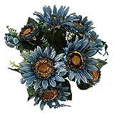 Beferr Artificial Sunflower Bouquet Fake Silk Sunflower Flower for Garden Art Home Table Party Wedding Decor (Blue)