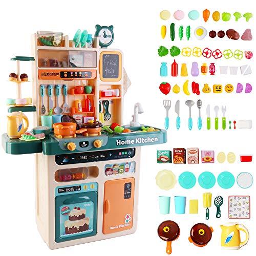 deAO Cocina de Juguete Mi Pequeño Chef con Luz y Sonidos, Grifo de Agua, Vapor, Panel Interactivo, Pizarra de Menú y Accesorios Que Cambian de Color y Más Incluidos (Azul)