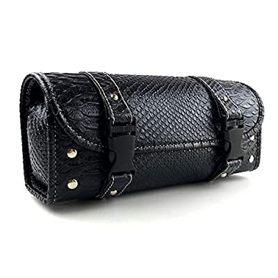 Motorcycle PU Crocodile Leather Bag Handlebar Tool Pouch Sissy Bar Roll Storage Bag with 2 Straps (11.4 inch) from XYIVYG
