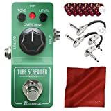 Ibanez TS MINI Tube Screamer Mini Overdrive Pedal with Patch Cables, Picks, and Cloth Accessory Bundle