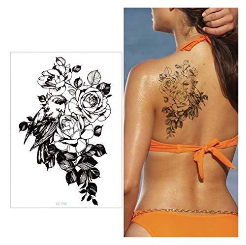 Tattoo Aufkleber 3 stücke große blume arm tattoo temporäre tattoo aufkleber sparrow / magpie falsche hülse flash tatto wasserdichte körperkunst frauen sexy mädchen Für Jungen Mädchen voller Ärmel