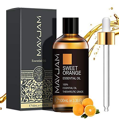 MAYJAM Orange ätherische Öle 100 ml, 100{7b398faf15994b7bab1e493aa5c0e4485255a6f0e193f4c1df2190aa9b8f15f2} Reine Natürliche ätherische Öle, ätherisches Aromatherapieöl von Therapeutischer Qualität, Duftöle für Diffusor, Luftbefeuchter, Perfekte Geschenke