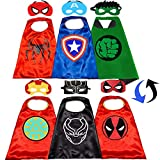 Superhero Capes for Kids - Superhero Double Side Cape And Mask Best Superhero Toys and Kids Gifts(3Pcs)