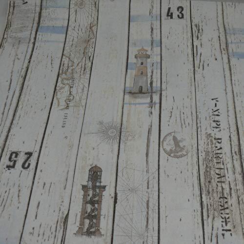 Dekostoff Emilia von Swafing, Holzbretter, beige (Meterware ab 25cm x 140cm)