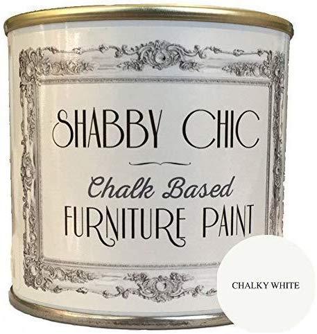 Shabby Chic Chalk Paint Für Möbel Matte Oberfläche kreidefarbe Kalkweiß (Chalky White) 250ml