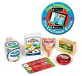 Polly Kaufladen Zubehör 5-teilig Käse-Butter-Set Miniaturen | Kinder Spielzeug für den Kaufmannsladen | Kinderkaufladen -