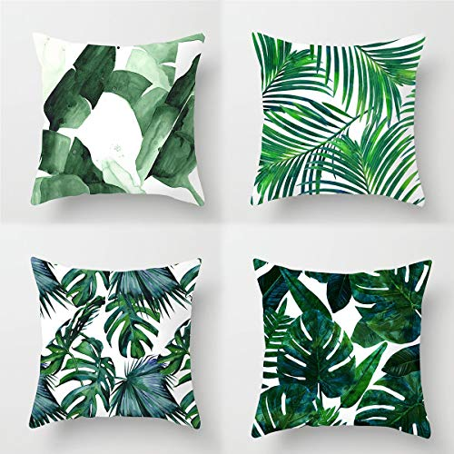 LOKIH 4PCS Fashion Cushion Cover Pillow Covers, for Home Party Decoration Living Room and Bedroom Green Leaf Pattern 45X45cm
