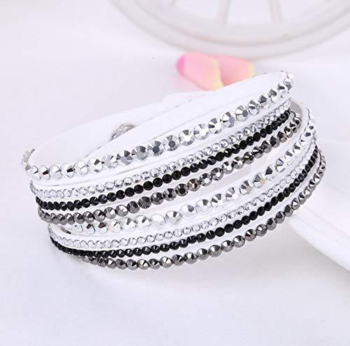 lonfenner Kristall Armreif,Leder Armbänder, Weiße Und Schwarze Frauen Strass Armbänder, Crystal Wrap Multi-Layer Armbänder, Damen Armbänder, Party Geschenke