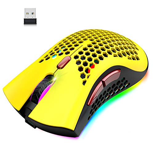 Wireless Lightweight Gaming Mouse Honeycomb with 7 Button Multi RGB Backlit Perforated Ergonomic Shell Optical Sensor Adjustable DPI Rechargeable 800 mAh Battery USB Receiver for PC Mac Gamer(Yellow)