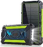 Batterie Externe Solaire, 20000mAh Batterie Solaire Chargeur Solaire Portable avec 2 Ports USB et 1 de Type C Charge Rapide Haute Vitesse Max 3.0A Power Bank Solaire pour Smartphone iPhone Tablette