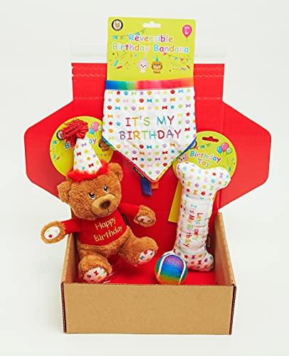 Dog Birthday Gift Box 4-Piece Hamper Present set, Perfect Dogs Happy Bday Celebration, includes Toys and Bandana (Large)