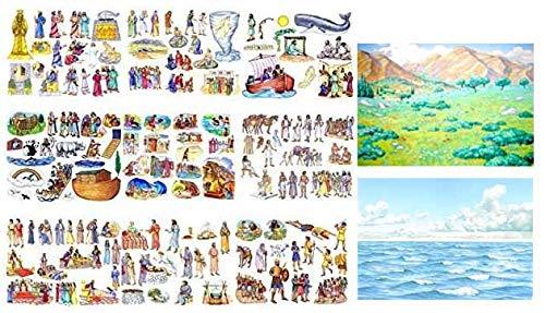 9 Old Testament Bible Stories Felt Figures + Flannel Board Book- Precut Toggle Size Noah, David, Daniel, Job, Jonah, Joseph, Abraham, Ruth Esther, Moses