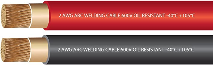 EWCS 2 Gauge Premium Extra Flexible Welding Cable 600 Volt Combo Pack - Black+Red - 10 Feet of Each Color - Made in The USA