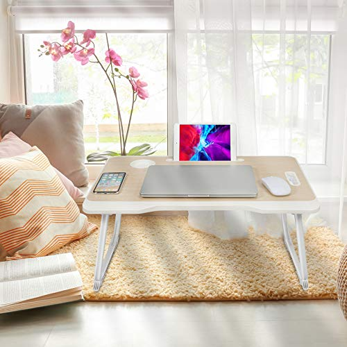 RHtvrll Laptop Desk, Laptop Bed Table, Foldable Laptop Bed Tray, Portable Notebook Table Dorm Desk, Lap Standing Desk, Notebook Stand with Tablet Slot & Cup Holder for Reading, Working on Bed Sofa