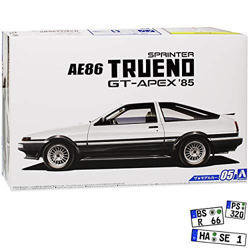 Aoshima Toyota Trueno Sprinter AE86 GT-Apex Weiss Kit Bausatz 1/24 Modell Auto mit individiuellem Wunschkennzeichen