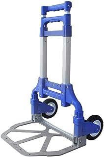 STC / Inicio turcks Carrito de la Compra Carrito de Equipaje de Aluminio Carrito de la Carretilla Plegable portátil (Color : Azul)