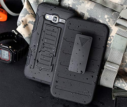 Cocomii Robot Belt Clip Holster Galaxy J2 Prime Case, Slim Thin Matte Kickstand Swivel Belt Clip Holster Reinforced Drop Protection Fashion Bumper Cover Compatible with Samsung Galaxy J2 Prime (Black)