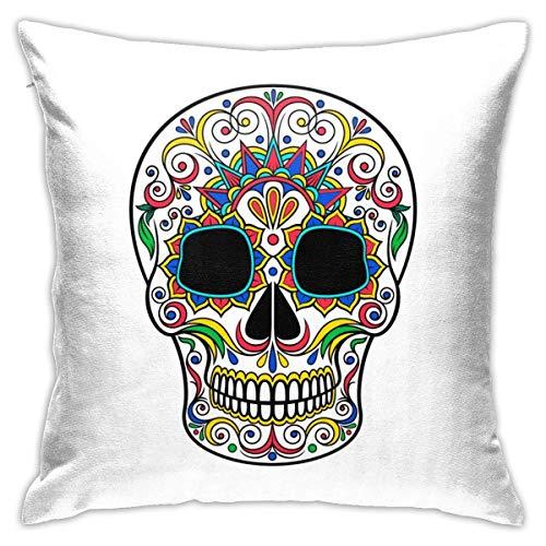 Lsjuee Throw Pillow Cover Day Dead Skull Sugar Adorno Floral Funda de cojín Decorativa Fundas de Almohada Protectores 45x45 cm
