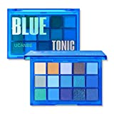 UCANBE Bright Neon Eyeshadow Makeup Palette-15 Shades High Pigmented Purple Blue Yellow Shimmer Matte Glitter Metallic Eyes Shadow Colorful Vibrant Creamy Make Up Pallets Kit (Blue Tonic)