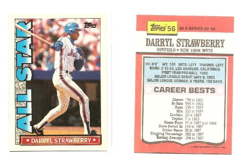 1990 Topps Glossy TV All Star Test Issue Baseball Card Darryl Strawberry New York Mets