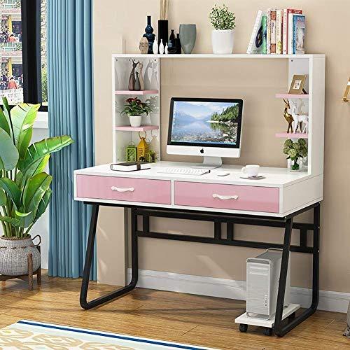 Escritorio de computadora grande con estantería mesa de juegos de oficina en casa con cajón de almacenamiento para que los estudiantes aprendan a escribir: 100 cm / 394 pulgadas (Color: 2 Tamaño: 1
