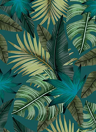 Deco&Fun - Alfombra Vinílica Nature Tropical Azul 160x220cm - Alfombra PVC Alfombra...