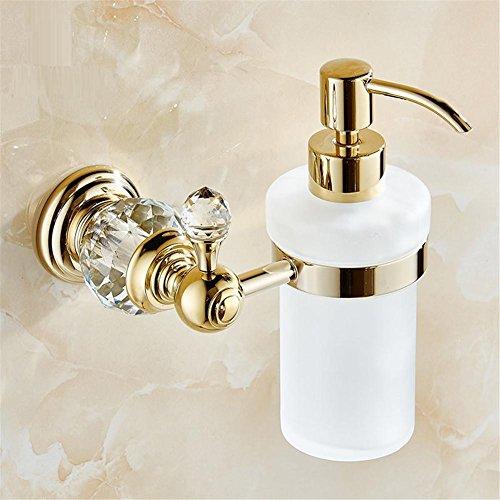 HomJo Luxus Kristall Wand montiert Flüssig Seifenspender mit Gold Finish + Mattglas Container / Flasche Bad Produkte , 1