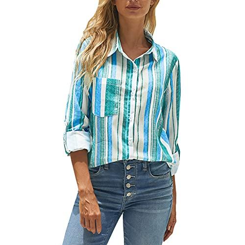 XYJD Lente en zomer dames casual gestreept shirt V-hals enkelvoudige borst lange mouwen los vest shirt shirt dames - blauw - 5XL