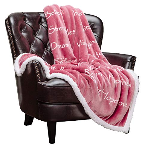 Reversible Pink Throw Blanket with Inspirational Words