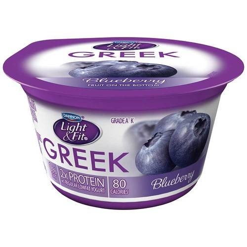Light and Fit Blueberry Greek Nonfat Yogurt, 5.3 Ounce -- 12 per case.