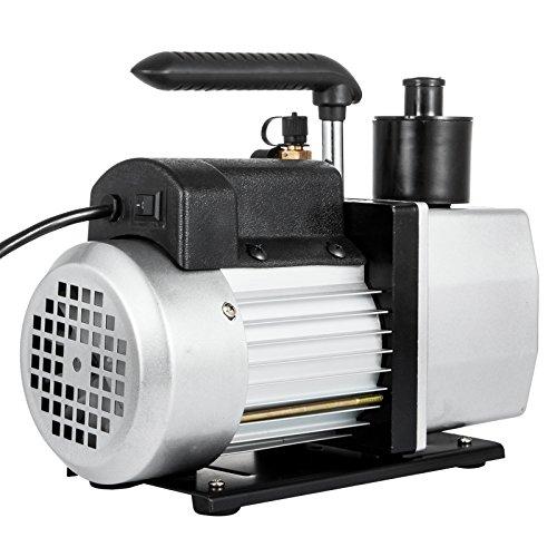 VEVOR Rotary Vane Vacuum Pump 5CFM 1/2HP Two Stage HVAC Auto AC Refrigerant Vacuum Pump Wine Degassing Milking Medical Food Processing Air Conditioning Vacuum Pump (2-Stage, 5CFM)