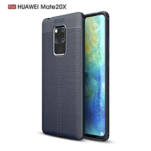 CruzerLite Huawei Mate 20X hülle, Mate 20X hülle, Flexible Slim Hülle with Leather Texture Grip Pattern and Shock Absorption TPU Cover Schutzhülle für Huawei Mate 20X (Blue)