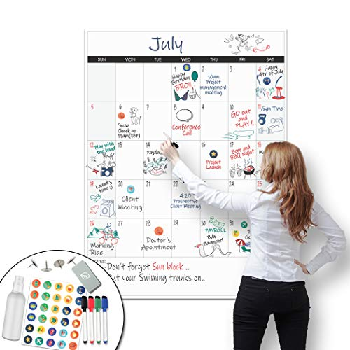 """Large Dry Erase Calendar - 36""""x48"""" Undated Erasable Monthly Calendar- Laminated Wall Calendar For Home And Office Organization (Vertical)"""