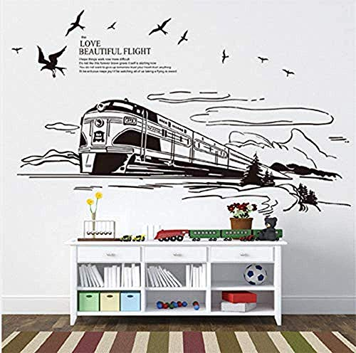 Muursticker Modern Transport Trein Zwart Muursticker Silhouette Cloud Vogel Mountain Landschap Art Decoratie muurschildering Slaapkamer Woonkamer Decal