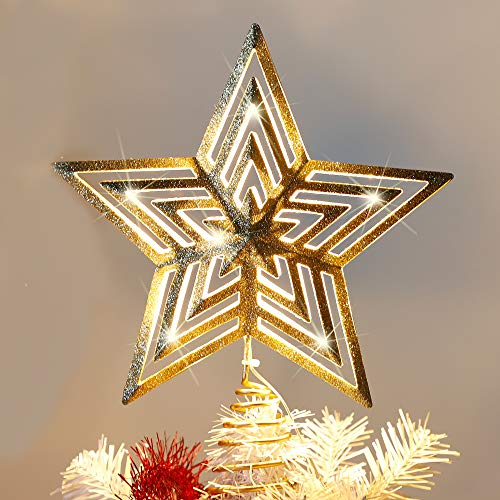 "Lulu Home Christmas Tree Topper, 11.8"" X 9.5"" Golden Christmas LED Star Tree Topper, 20 LED Lighted Xmas Tree Star Topper Christmas Tree Ornament Decoration"