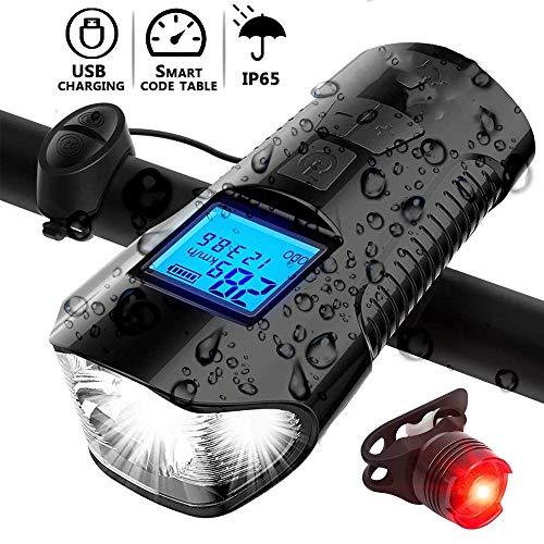 Fahrrad-Licht, Wiederaufladbare Bike Front und Rücklicht Set mit LCD-Anzeige, Odometer 120db Horn, IP65 wasserdicht for Kinder Männer Frauen Nacht Radfahren Sicherheit