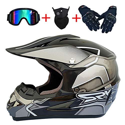 Casco Integral de Motocross DH para Adultos Dot Certified ATV MX MTB Motocicleta Dirt Bike Casco Protector Rally Enduro Casco con Guantes Máscara de Gafas (Línea Plateada),52~53cm S
