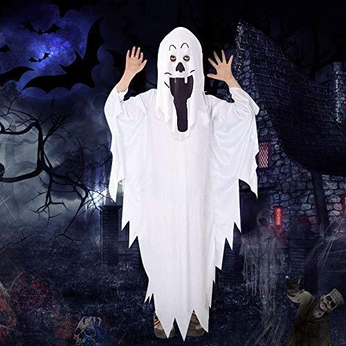 IGRMVIN Halloween Geist Kostüm Kinder Cosplay Kinderkostüm Halloween Gruseliges Kostüm Kinder Schlossgespenst White Ghost Kostüm für Kinder Jungen Mädchen Halloween Jungs (weiß 90cm Lang)