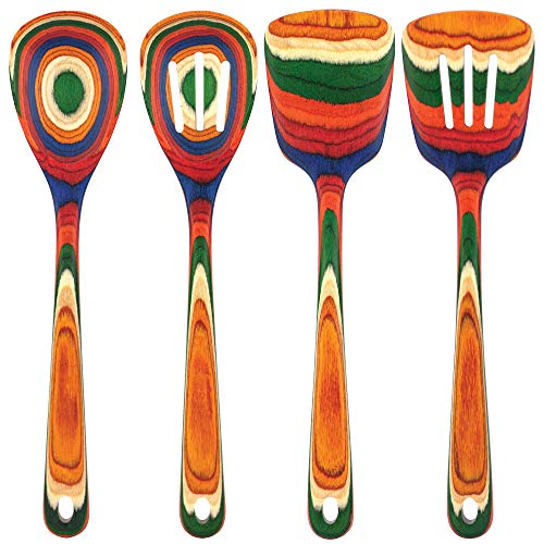 Totally Bamboo Baltique Marrakesh Collection 4 Pc Wooden Utensil Set, Safe for Nonstick
