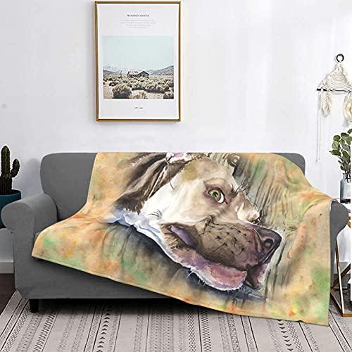 Manta de sofá de peluche Pitbull Watercolor Art de George Dyachenko ultra suave manta de forro polar negro 150 x 100 cm manta de lujo para ropa de cama sofá y cama de aire acondicionado de via