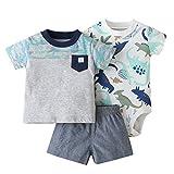 3 Paquetes Bebé Niños Pijama Atuendo Juegos de Ropa, NiñIto Camiseta + Pantalones Cortos + Body Conjunto de Ropa 12-18 Meses