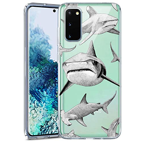 Slim Clear Shark Case for Samsung Galaxy S20 FE 5G Customized Design Soft TPU and Rubber Flexible Durable Shockproof Samsung Galaxy S20 FE 5G Protective Case-Anti-Slippery